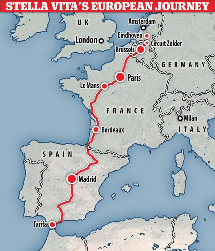 The Stella Vitta is being driven from Eindhoven to Spain's southernmost city, Tarifa – a 1,864-mile (3,000-kilometer) road trip through various cities to organize various events