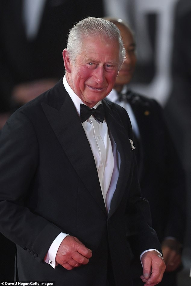 The Prince of Wales attends the No Time To Die world premiere at Royal Albert Hall on September 28 in London