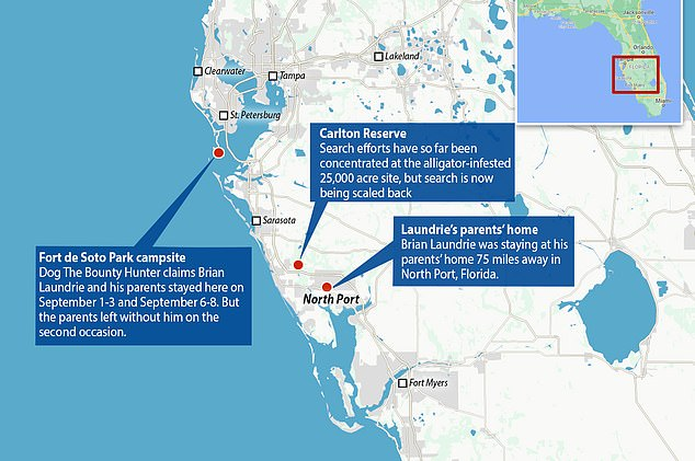 A map shows the Fort de Soto Park campsite's location, the Laundrie family home and the Carlton Reserve where authorities have focused their search and Laundrie's parents say he was headed