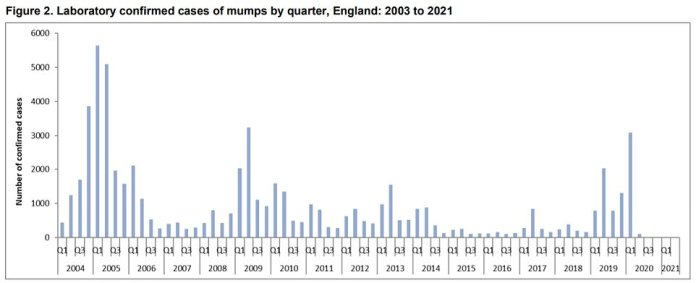 Between April and June of this year, Public Health England confirmed there was one case of measles and two cases of mumps.  There have been no confirmed cases of rubella in the UK since 2019