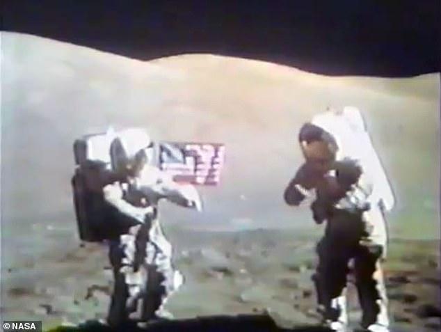 Apollo 17 astronauts Gene Cernan (right) and Harrison Schmidt dedicate the Goodwill moon rock in December 1972