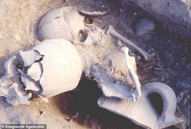The warrior was probably 35 or 40 when he was beheaded when attacked by the Ottomans.  Her mutilated head was buried with the remains of a five-year-old girl, possibly in secret.