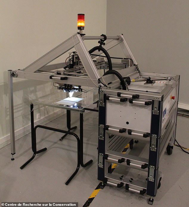 The researchers used microscanning X-ray fluorescence spectroscopy to analyze the revised sections of 15 of the landmark papers.  Image: X-ray Scanner