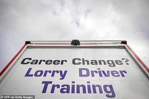 An HGV used for lorry driver training and driving tests is seen at National Driving Centre in Croydon