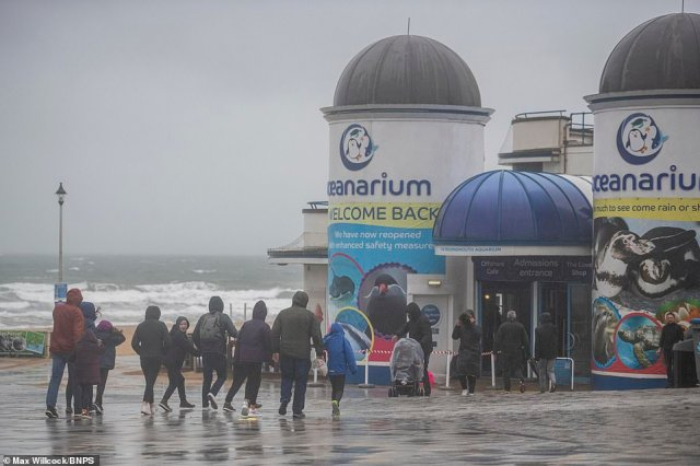 These visitors in Bournemouth decided to abandon a stroll along the sea front and instead headed towards the Oceanarium