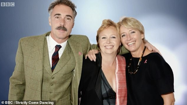Family: His late sister Claire – who was a fan of disco music – died of cancer in 2016 at the age of 51 (pictured with Greg and his wife Emma Thompson)