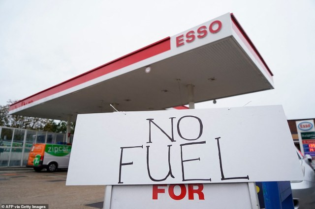 'No Fuel' signage is displayed at a closed filling station in Streatham Hill, south London, on Saturday morning