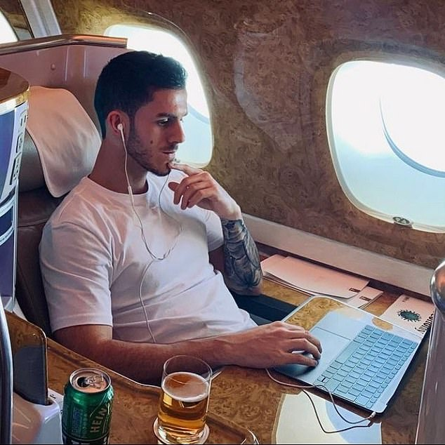 Doctor J initially demanded payment via PayPal or Bitcoin, a cryptocurrency used by criminals to mask their identities, but our reporter persuaded him to accept a payment via bank transfer which allowed us to uncover his true identity as Jordan Goodall (pictured on a flight in Dubai)