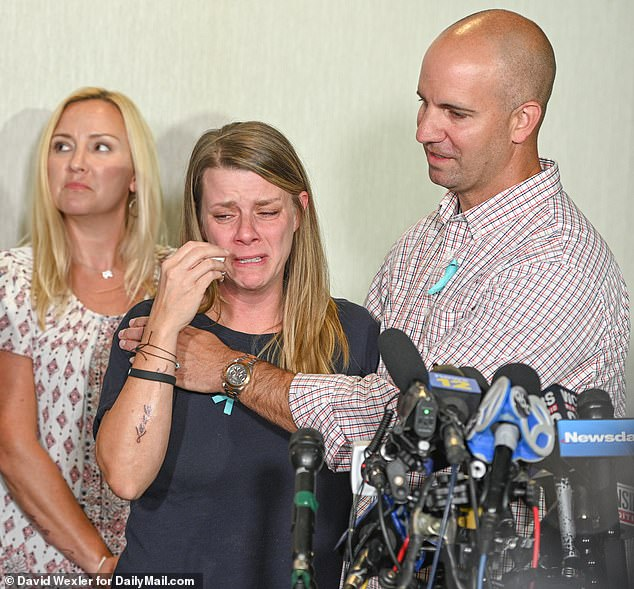 The press conference marked the bereaved mother's first public statements since her daughter's body was found. Each family member wore a blue ribbon in memory of Gabby
