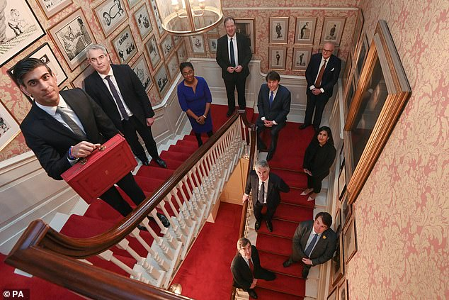 In last month's reshuffle, Mr Johnson appointed 6ft 5in Simon Clarke as Chief Secretary to the Treasury. Pictured L-R:Rishi Sunak, Steve Barclay, Kemi Badenoch, Jesse Norman, John Glen, Theodore Agnew, Claire Coutinho, James Cartledge, Craig Williams and David Rutley