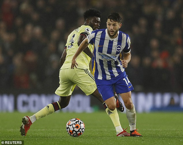Midfielder Partey was eventually booked and won just two of the 12 duels they fought