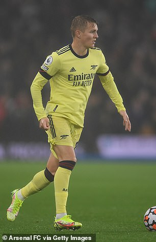 Martin Odegaard was replaced by Nicolas Pepe in the second half.