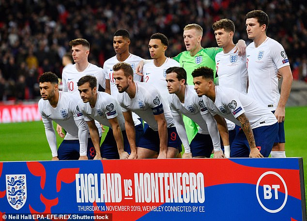 England players pose for a team photo ahead of the UEFA Euro 2020 qualifying Group A match between England and Montenegro at Wembley.  There is no suggestion that they are refusing the vaccine as shown in the picture