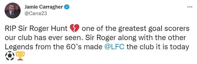 Former Liverpool defender Jamie Carragher praises Hunt's Anfield legacy