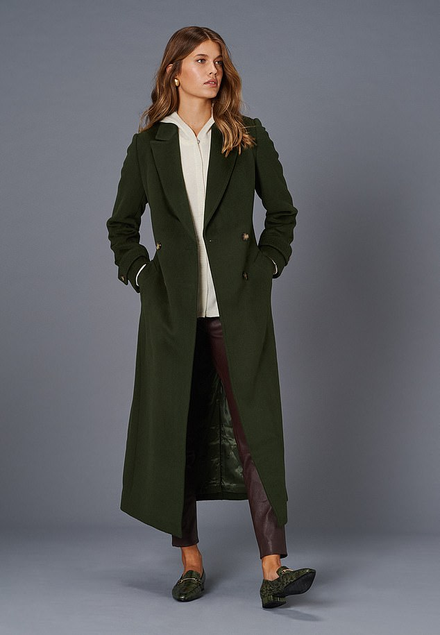 The green military design (far right) is made of 100 percent wool and a little more affordable.  Pictured: Coat, £399, cardigan, £135, and trousers, £399, jaeger.co.uk;  Hobo: £195, russellandbromley.co.uk