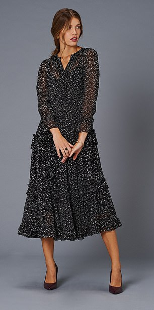 Dress, £225, jaeger.co.uk;  Boots, £199, lkbennett.com