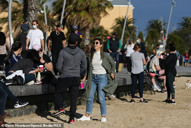 Premier Dan Andrews revealed on Sunday of all the patients in Victorian hospitals only five per cent were fully vaccinated (pictured, residents at St Kilda Beach)