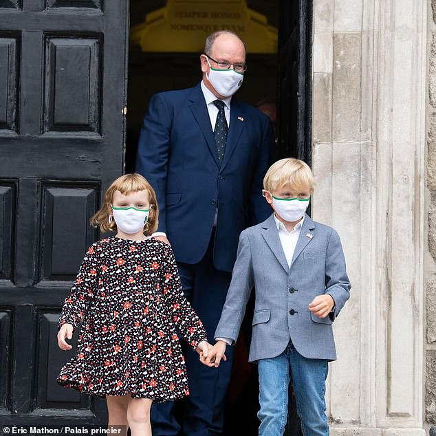 On Friday, September 3, Prince Albert (pictured with his children) was joined on the red carpet by actress Sharon Stone, 63, on the eagerly anticipated release of James Bond - Daniel Craig's fifth and final outing as the iconic secret agent. It was the first sight.