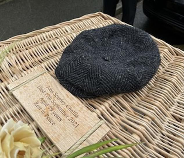 The late actor's wife shared pictures on Twitter of Challis's wicker coffin (above) that featured his favourite flat cap