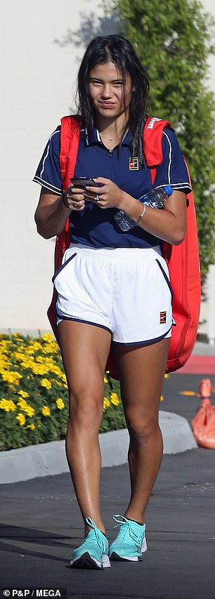 Out and about: Emma enjoys the California sunshine ahead of her next big match