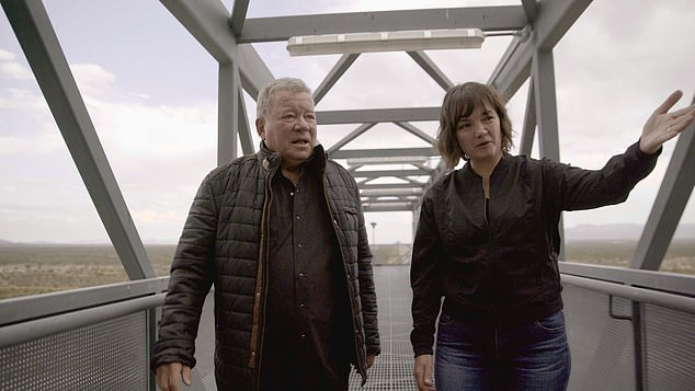 Shatner, 90, will be the oldest person to travel to space, leaving behind 82-year-old 'Wally' Funk.  Shanter is seen with Blue Origin's Sarah Knights visiting Launch Site One in West Texas