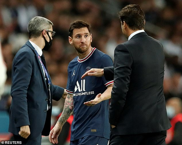 Messi looked frustrated after he was substituted in PSG's match against Lyon last month