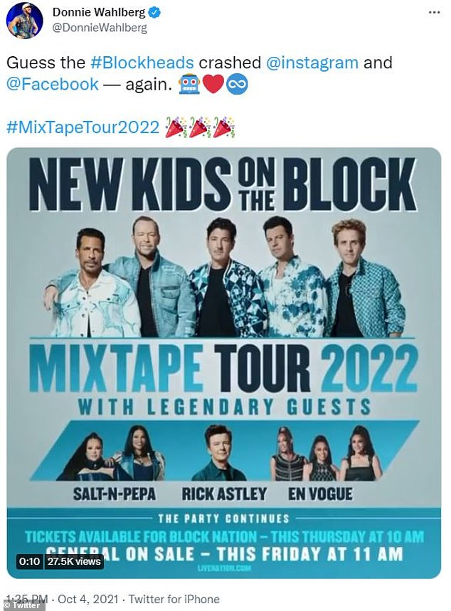 It's Always the Blockheads: Donnie Wahlberg joked that fans of New Kids on the Block crashed social media sites promoting the tour, which the band announced today.