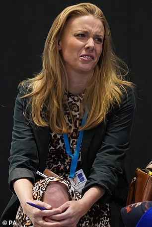 Clementine Cowton is pictured at the Conservative Party Conference in Manchester yesterday