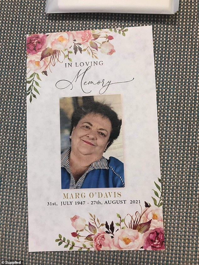 Marg O'Davis developed severe septicemia and died at Belmont Hospital on August 27