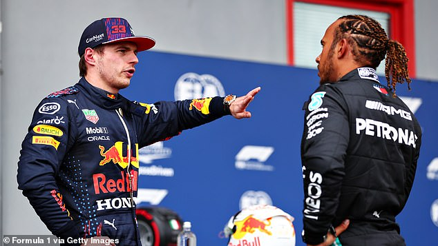 Seven-time world champion (right) is just two points ahead of Max Verstappen this season