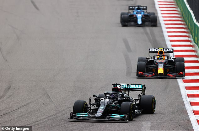 Hamilton (front) only beat Verstappen in Russia, despite starting from behind later.