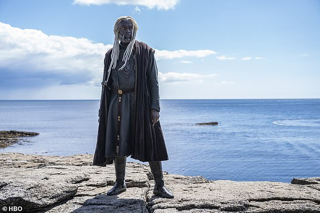 High seas:Steve Toussaint wore white dreadlocks and a sea-weathered stare while transforming intoLord Corlys Velaryon, also known as the Sea Snake. He will later become Hand to Queen Rhaenyra Targaryen