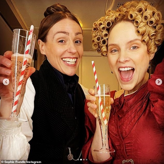 Rejoice: Elsewhere Sophie, who plays Anne's boyfriend Ann Walker, shared a series of images of herself and Surne happily celebrating the end of filming