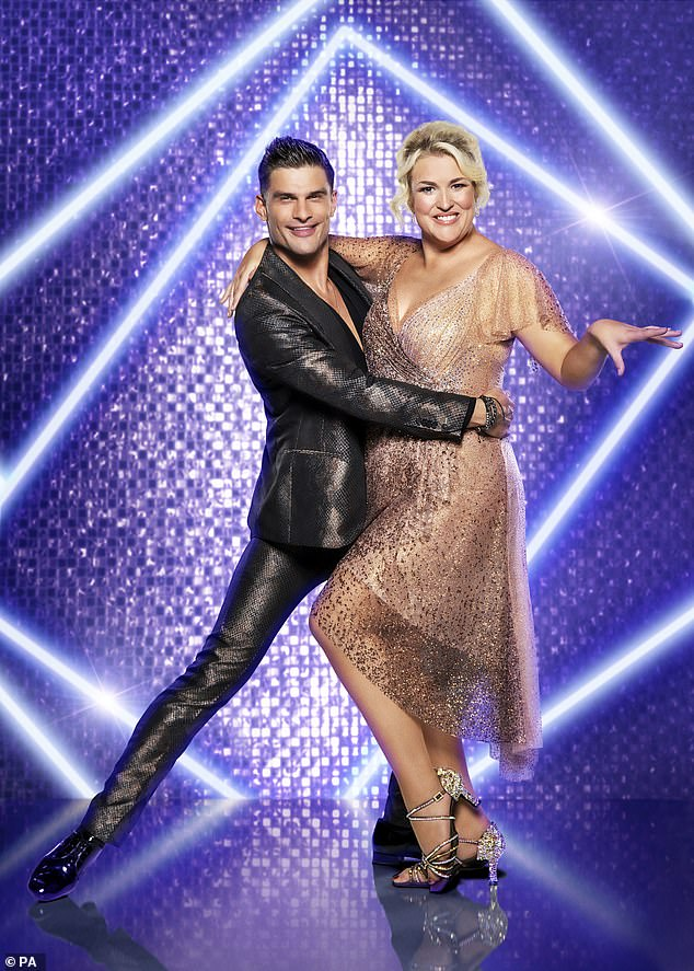 Energetic: After topping the leaderboard with their foxtrot last week, Sarah Davis and Aljas Skorzenek will face a samba from Shrek for Modern Romance's Best Years of Our Lives.