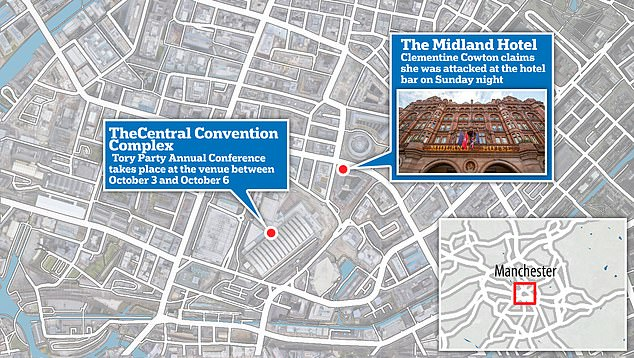 This map shows the Midland Hotel, where Miss Cowton claims she was attacked. The Tory Party Annual Conference is taking place at the Central Convention Complex nearby