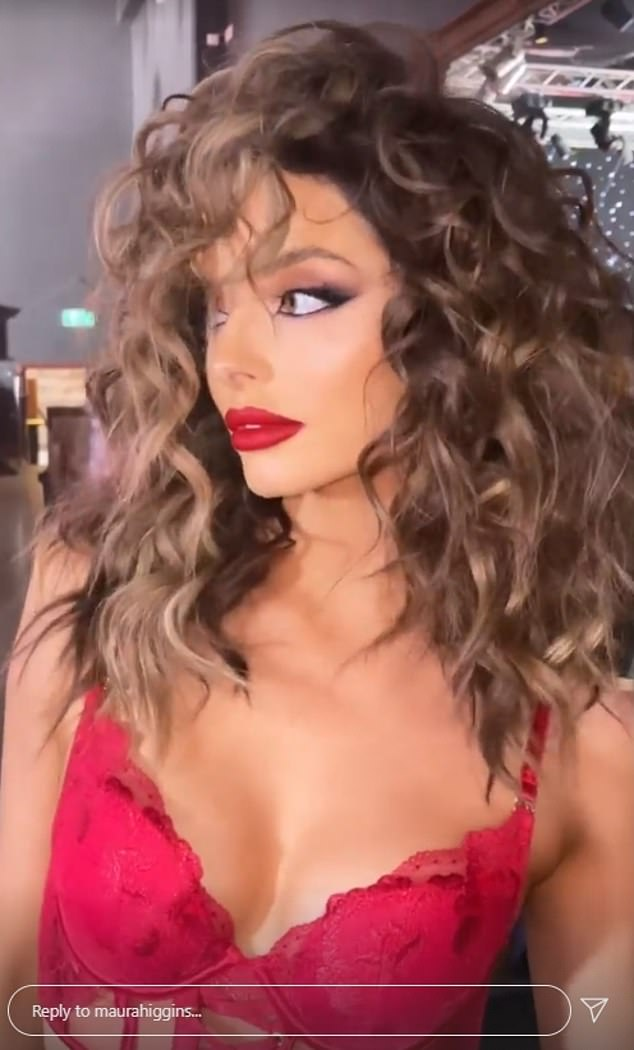 Looking Hot: The 30-year-old reality star, looked sensational in a crimson red bra and wore a full face of makeup that included a bold red lipstick that accentuated her entire pout