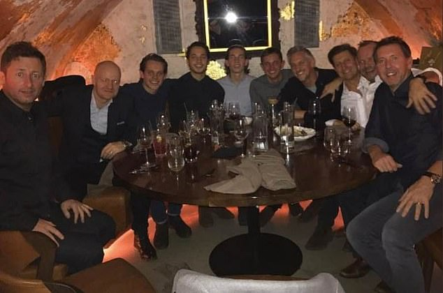 Lineker (fourth right) and Woodward (second right) are neighbours and 'good friends'