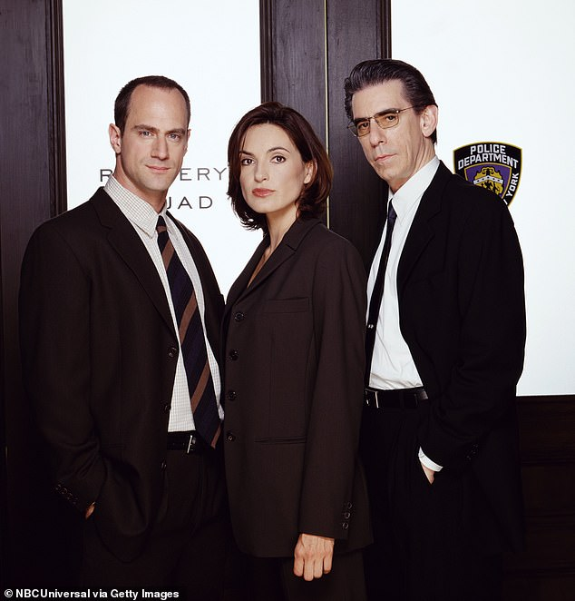 Drama:Gillies, 51, played Kathy Stabler, the wife of Chris Meloni's Elliot Stabler, in Law & Order: SVU for 12 seasons and was trolled mercilessly by online bullies after reprising her role in the SVU finale (PicturedChristopher Meloni as Detective Elliot Stabler, Mariska Hargitay as Detective Olivia Benson, Richard Belzer as Detective John Munch season one)
