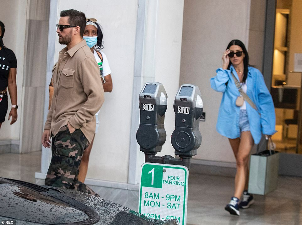 Retail therapy: The duo spent two hours shopping inside the exclusive store after arriving to the Beverly Hills shop in Scott's Sprinter Van