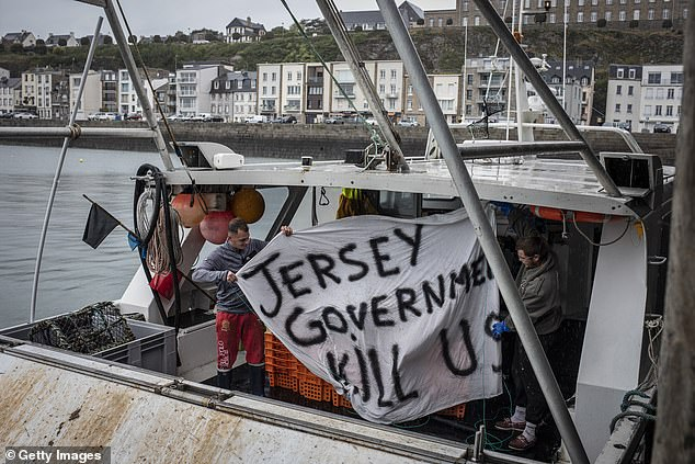 French fishermen last night threatened to cut off vital Christmas supplies to Britain.  Image: French fishermen protest earlier this year
