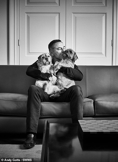 Pets: David Walliams photographed with his Border Terriers Bert and Ernie
