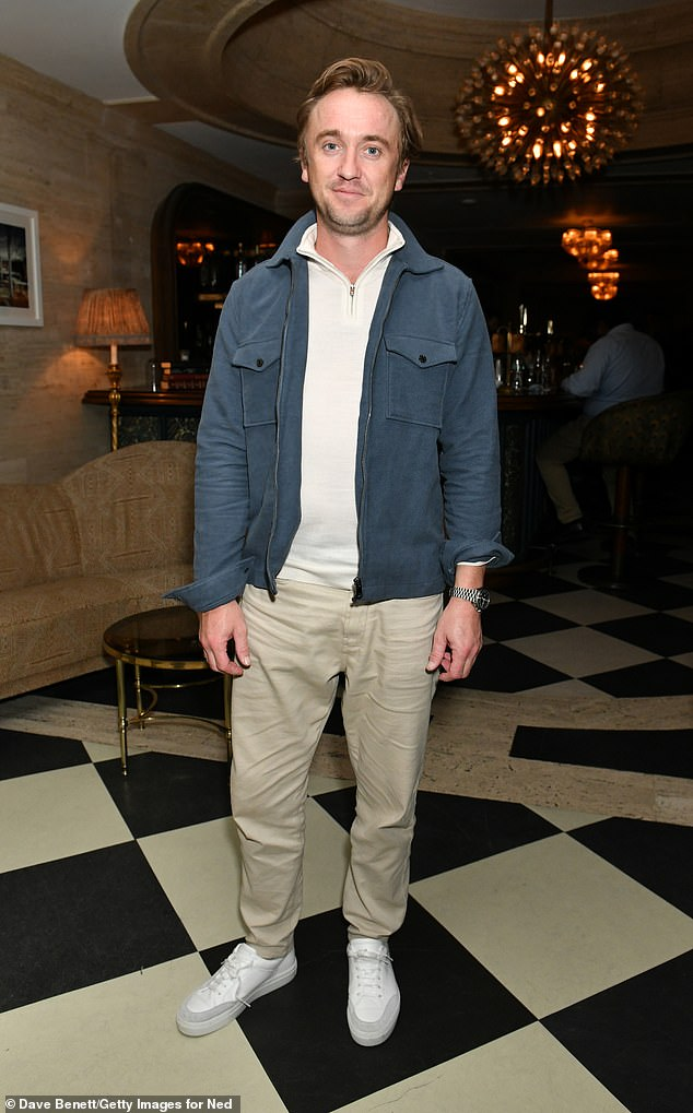 Out and about: Tom Felton, 34, looked in good spirits as he stepped out Tuesday for the first time since a fall at the Ryder Cup Celebrity Tournament in Wisconsin last month.