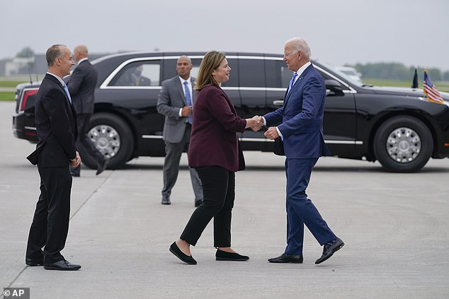 Biden (right) is visiting Slotkin's (left) district and will speak in Howell, the county seat of Livingston County, which chose former President Donald Trump over Biden by more than 20 points