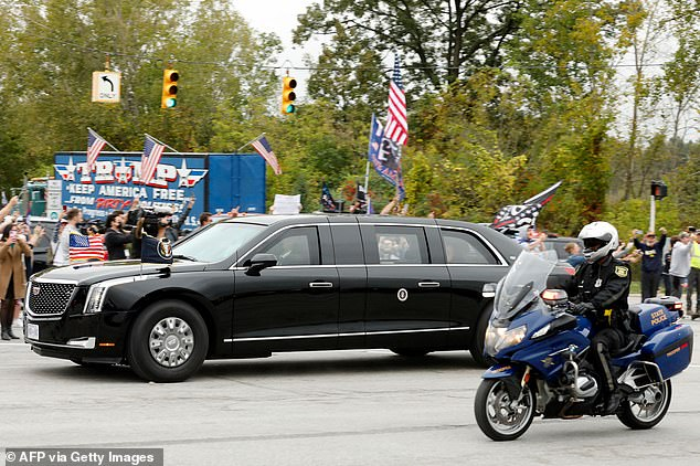 Protesters lined the streets as Biden's motorcade drove from the airport to his first event