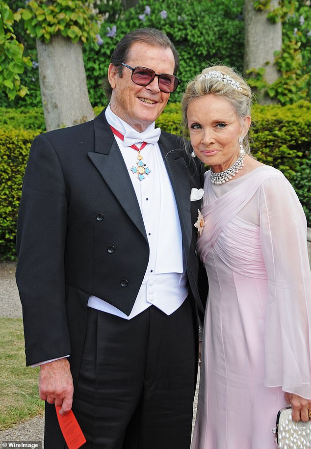 Moore, who died in 2017 aged 89, left Mattioli in 1993 for her best friend, Swedish-born Danish socialite Kristina 'Kiki' Tholstrup (pictured with Sir Roger in 2008)
