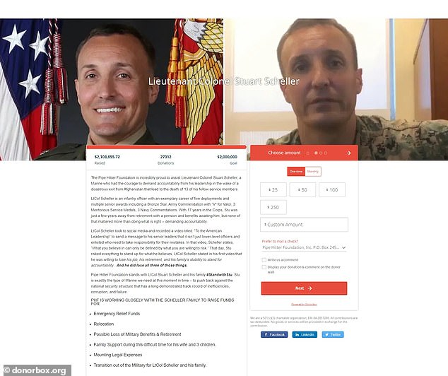 Supporters raised over $2 million for the marine who was jailed for defying orders to stop publicly criticizing the nation's Afghanistan withdrawal