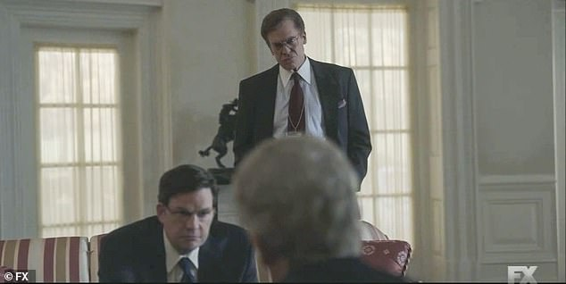 Grilled:Clinton is getting grilled by his Bob Bennett (Christopher McDonald) and another team member (Tim Martin Gleason), to get an idea of what he can expect, but he gets frustrated and says, 'I bet Kennedy didn't have to deal with this s**t