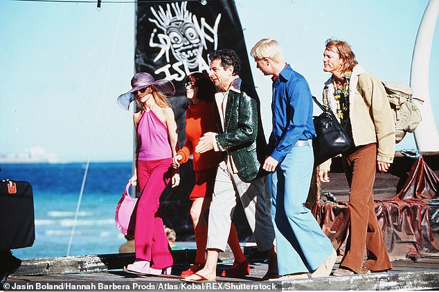 The characters from the 2002 film along the jetty at the Tangalooma Island Resort