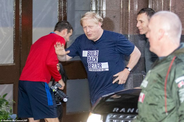 Boris Johnson (pictured running today) will round off his party's gathering at lunchtime with a defiant message that, unlike predecessors, he has the 'guts' to push ahead with big reforms