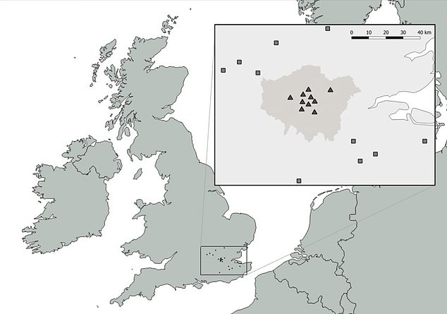 The study recorded 10 dances between April and September in 2017 at 10 sites in central London and in agricultural areas of the home county (pictured)